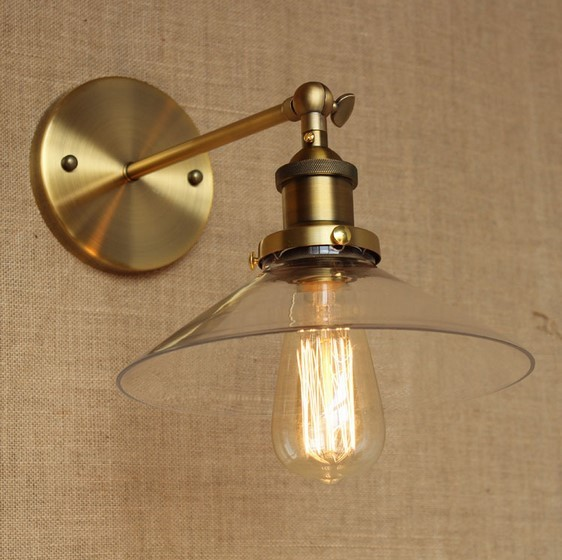 Gold Industrial Wall Lamp Vintage With Glass Lampshade In
