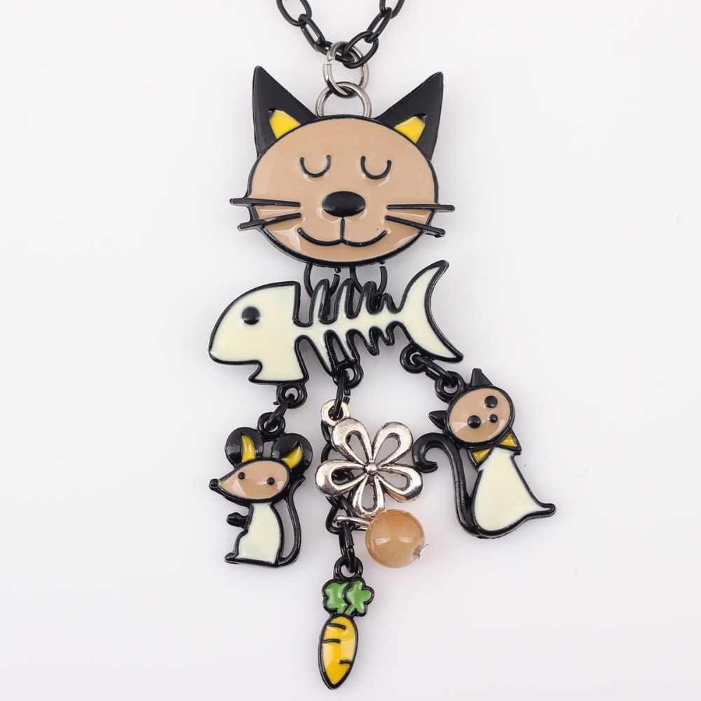 Bonsny, длинная цепочка, 2016, цветная французская кошка, ожерелье, эмалированная подвеска, рыбка, сплав, шарм, брендовые ювелирные изделия для женщин, девушек, новое животное