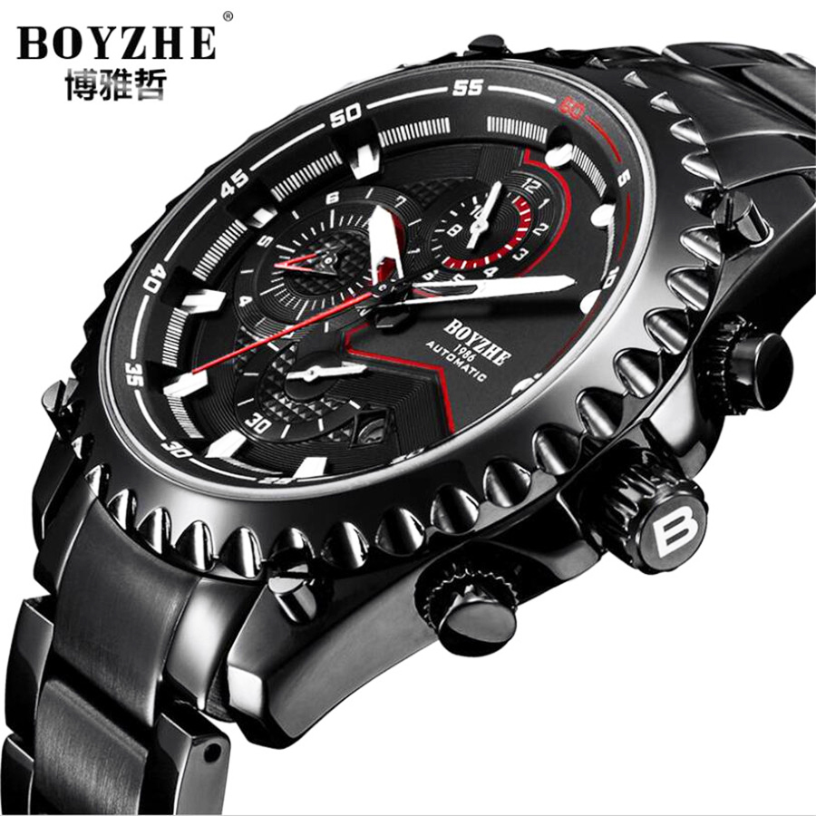 Watch Men Fashion Sport Automatic mechanical Clock Mens Watches Top Brand Luxury Full Steel Business Waterproof Watch Relogio cadisen automatic mechanical mens watches top brand luxury full steel watch men business waterproof fashion male clock rose gold