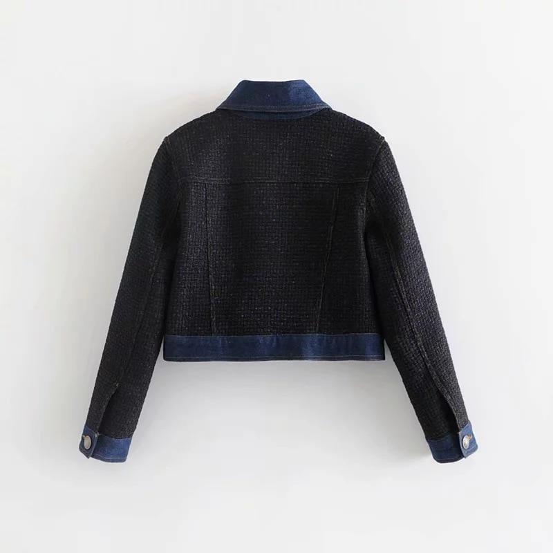 Jeans Donna Cappotti Femminile Giubbotti Tweed Autunno Streetwear Outwear Giacca Breve A Allentato Vento Di Inverno Vintage 1 Caldo ZOqq4wa