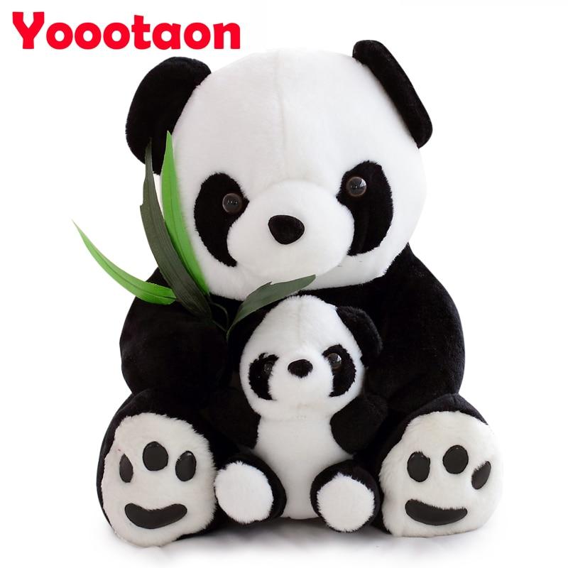 все цены на 25cm Sitting Mother and Baby Panda Plush Toys Stuffed Panda Dolls kids toys