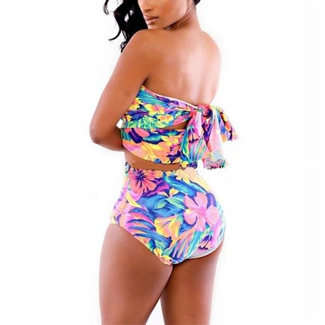Women High Waist Sexy Bikini Set Bandage Swimsuits Print Crossover Swimwear Bathing Suits New Arrival 2