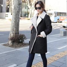 Dark Gray Long Woolen Coat Woman 2015 Winter Lambs Wool Inside Overcoat, Warm Thick Parkas Size S-XL