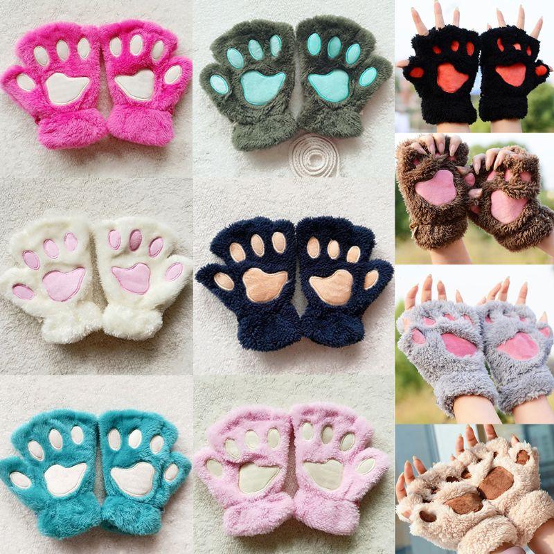 Women Girls Lovely Cat Paw Claw Thick Half Fingerless Gloves Fluffy Plush Mitten