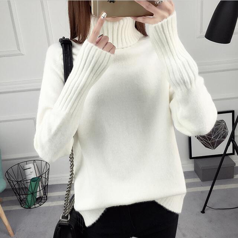 Turtleneck Sweater Women Autumn Winter Sweater Solid Kintted Long Sleeve Pullovers Sweater Sexy Womens Jumper Pull Femme River