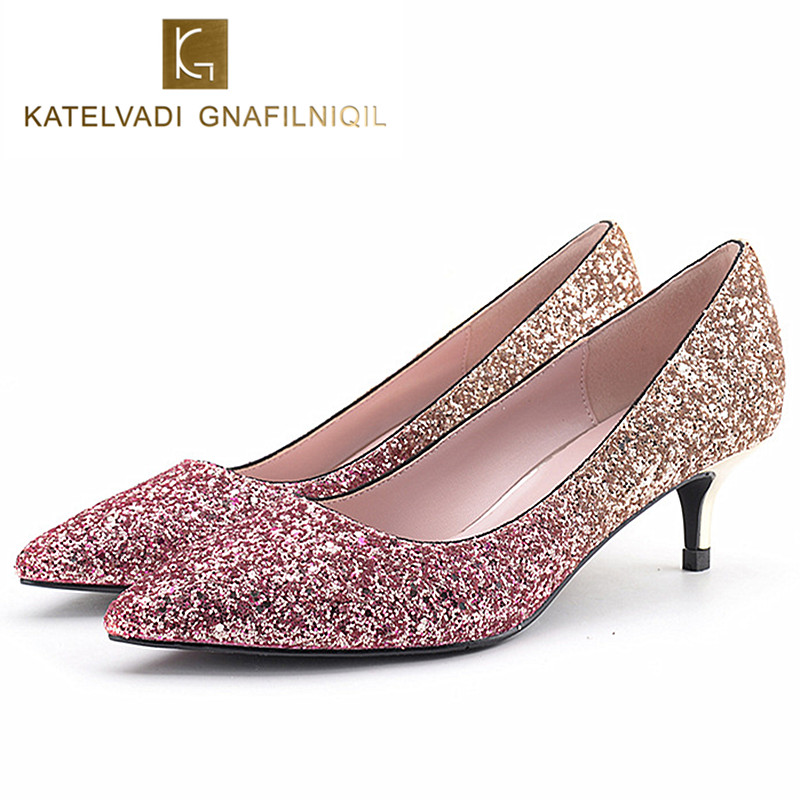 Fashion Glitter Shoes Woman 5.5CM Med Heels Sexy Wedding Bride Shoes Pointed Toe Women Pumps Female Shoes Chaussure Femme K-146 2018 fashion design see through silver glitter shoes pointed toe low heels lace mesh pumps wedding shoes