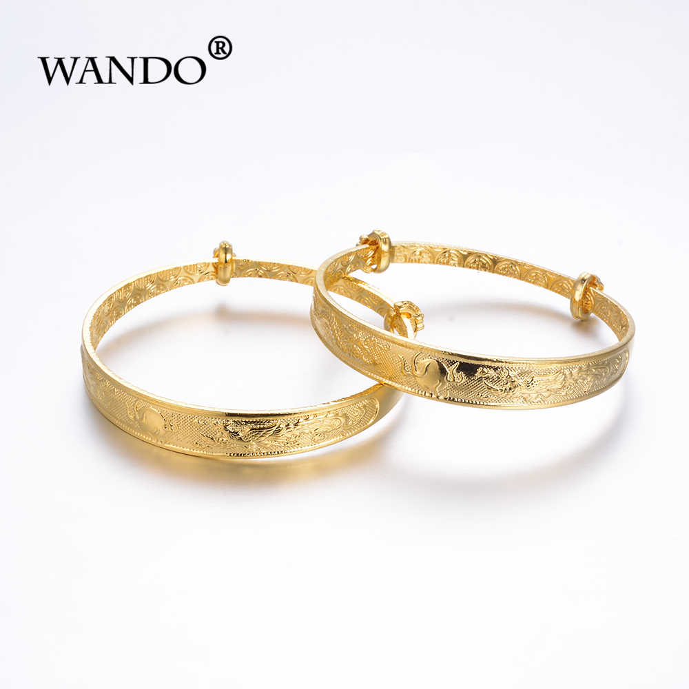 WANDO 2pcs Dragon phoenix Classic Bangle&bracelet for Girls/Baby/Kids Children's Metal Jewelry girl's festival lovely GiftsB03