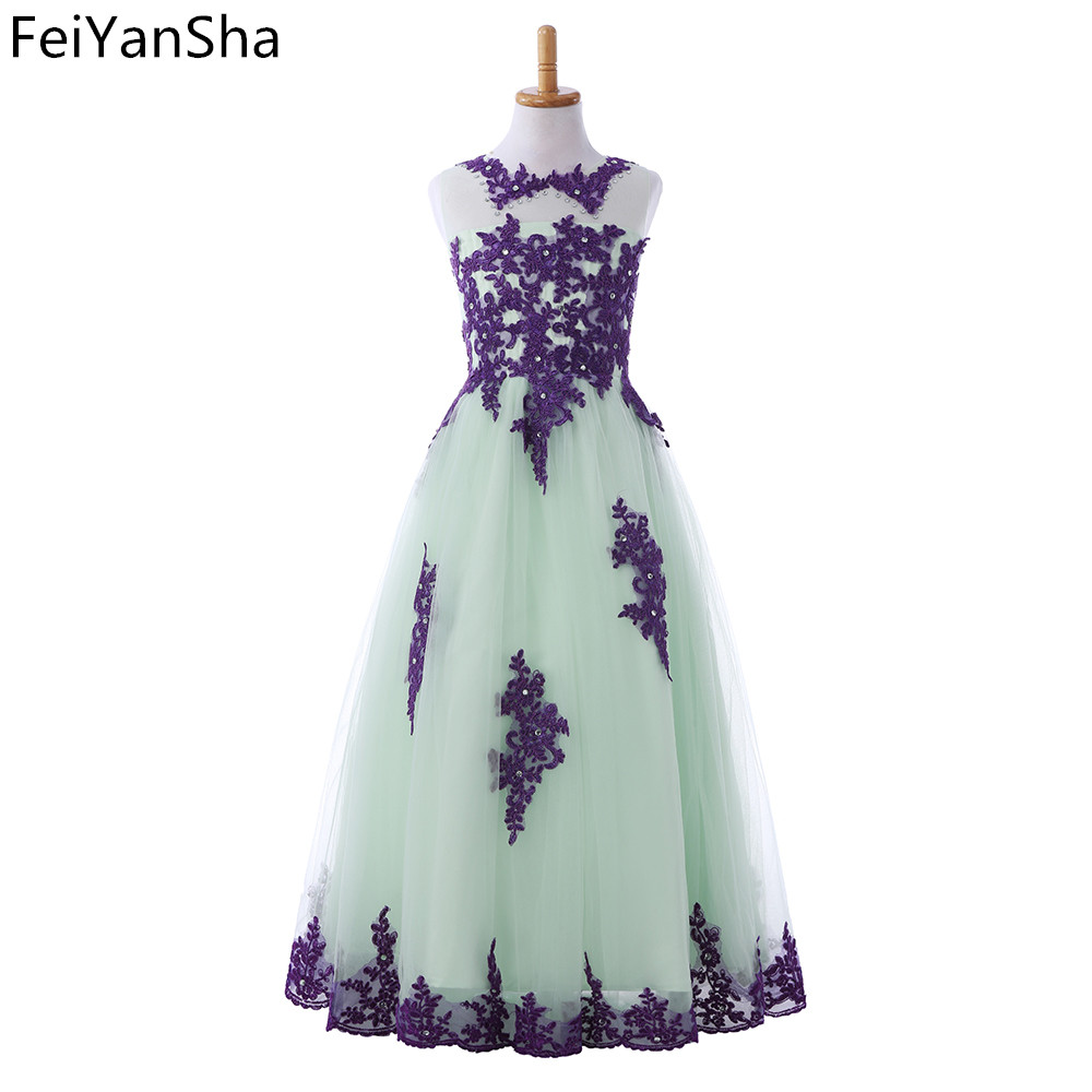 FeiYanSha Holy Communion Dresses Ball Gown Long Sleeves Lace Back Button Solid O-neck Flower Girl Dresses Vestido De Daminha New