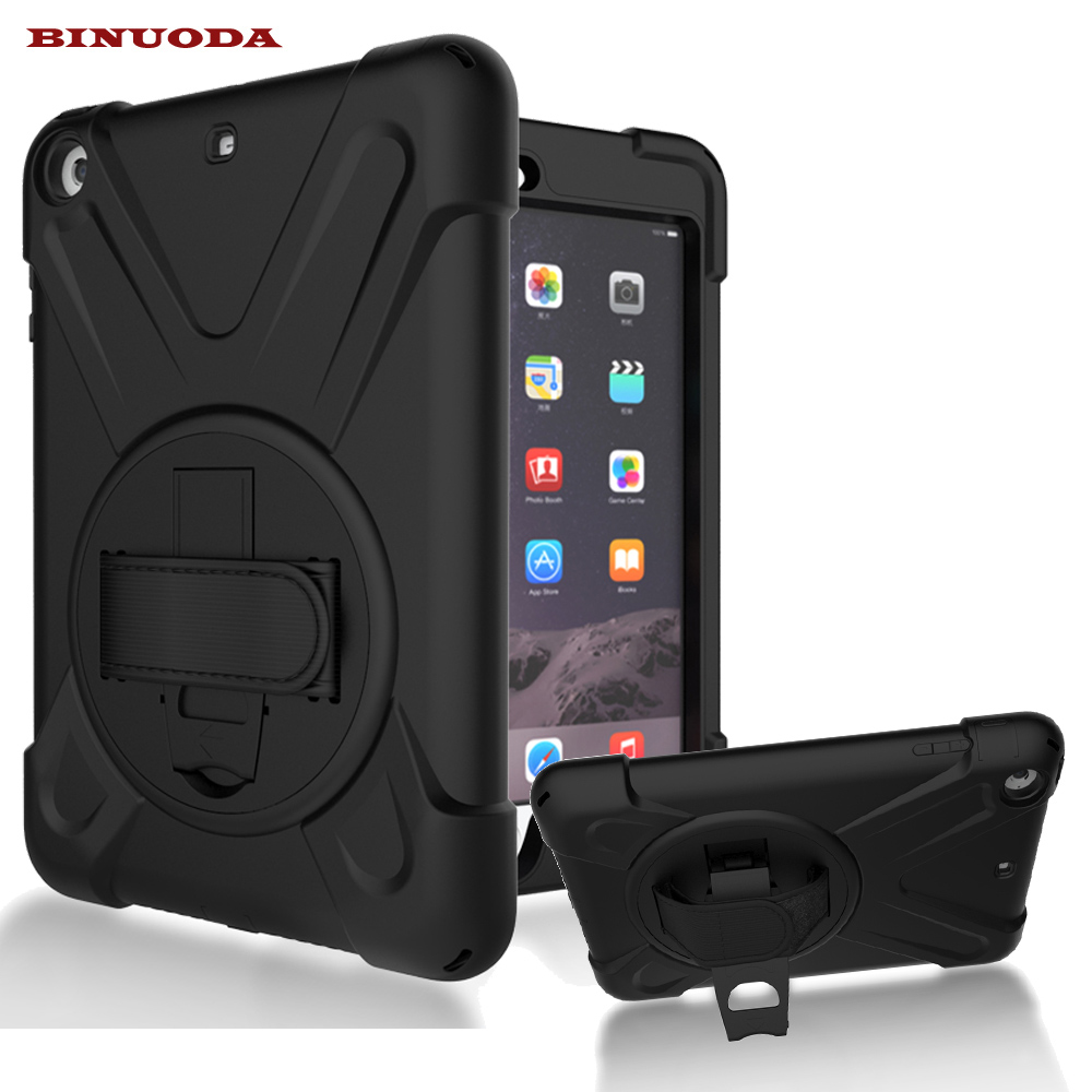For iPad Mini Case 360 Degree Rotatable PC Rugged Shockproof Cover Case for iPad Mini 3 2 1 Built-in Stand Hand Strap alabasta for apple ipad mini 1 2 3 case hand strap 360 degree rotation armor 7 9 inch kickstand pc silicone shockproof pen