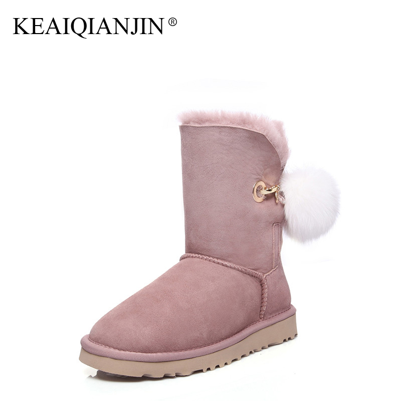KEAIQIANJIN Woman Wool Snow Boots Winter Genuine Leather Fur Platform Shoe Flat With Black Gray Brown Pink Shearling Ankle Boots keaiqianjin woman studded snow boots pink black winter genuine leather flat shoes flower platform fur crystal ankle boot 2017