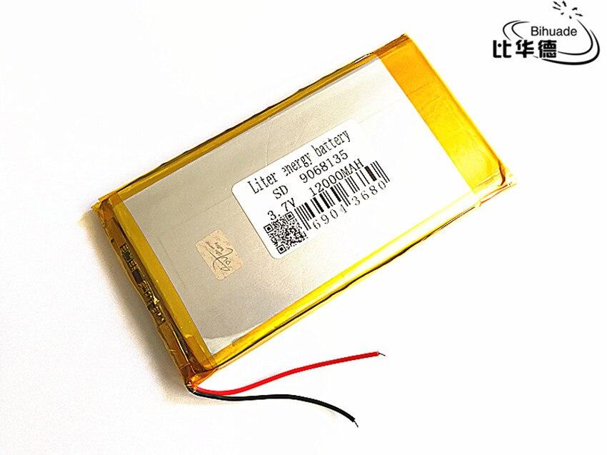 Litro de batería de energía 9068135 de 3,7 V 12000mAh batería de polímero de litio con la Junta de Protección para Tablet Uds envío gratis KUULAA batería externa 20000 mAh USB tipo C PD carga rápida + carga rápida 3,0 batería externa 20000 mAh para Xiaomi iPhone