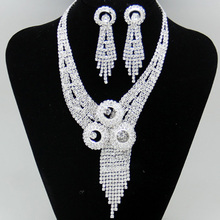 Luxury Crstal Plated Silver African Vintage Wedding Jewelry Bijous Promotion Shining Rhinestone Bridal Jewelry Sets For Women