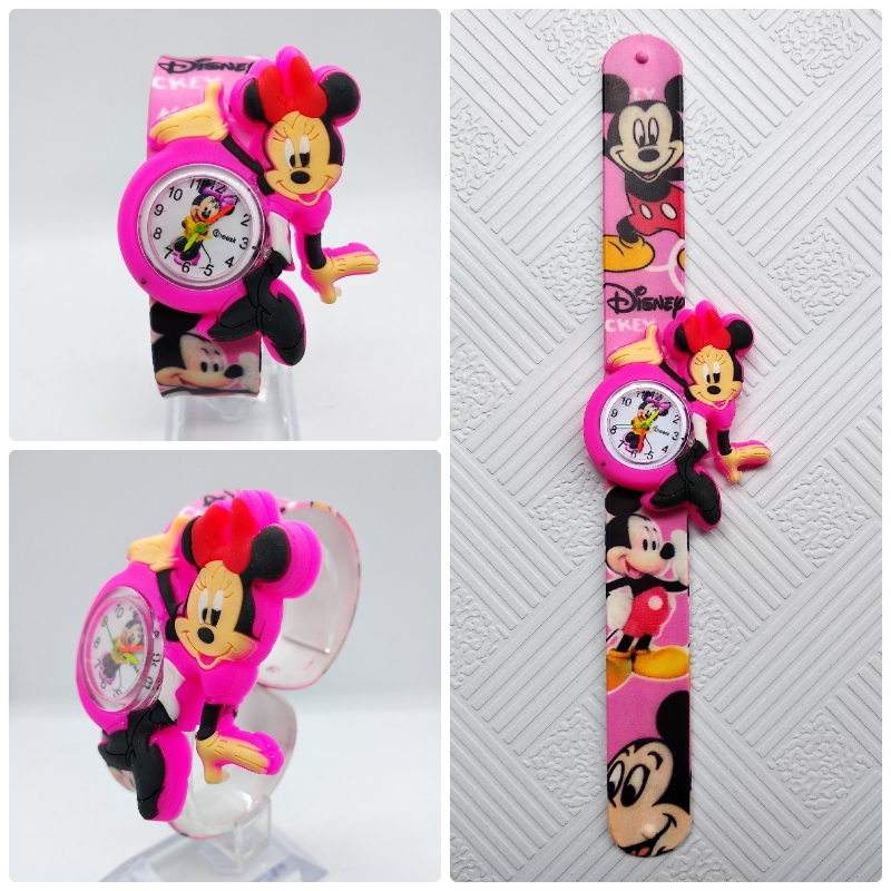 Beautiful Girls Watches Kids Pink Cartoon Minnie Clocks Colorful Rubber Watchband Wristwatch For Girls Children Montre Enfant