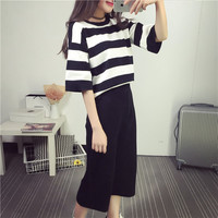 Elegant Summer Women S T Shirt Seven Minute Trouser Two Piece Suit Chiffon Relaxed Thin Material