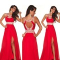 H007 Real Photo Sexy Red Prom Dresses vestido de festa Halter High Slit Floor Length Formal Party Prom Dress 2017 robe de soiree