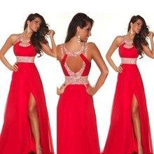 H007 Gerçek Fotoğraf Seksi Kırmızı Gelinlik Modelleri vestido de festa Halter yüksek Yarık Kat Uzunluk Örgün Parti Balo Elbise 2017 robe de soiree