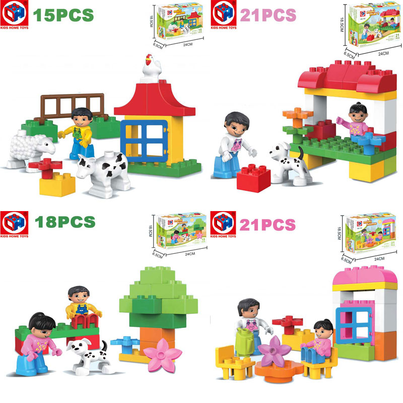 Kid's Home Toys Large Particles Happy Amusement Park Animal Paradise Model Large Size Building Block Compatible Duplo Kids Gifts oenux happy princess angel castle model large particles building block kids diy brick toy for girl s gift compatible with duplo