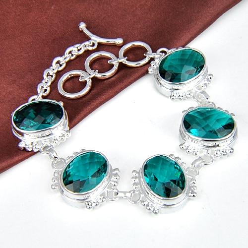 Promotion Luckyshine Fire Superb Square Shiny Fire Green Quartz Gems Chain Bracelets Russia Australia Bracelets Bangles