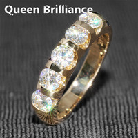 Genuine 14K 585 Yellow Gold 1.25 CTW 4mm F Color Wedding Band Half Eternity Band Matching Moissanite Diamond Band for Women