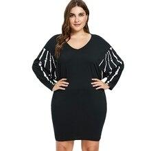 5XL Plus Size Halloween Dolman Sleeve V-Neck Dress Women Loose Batwing  Sleeve Solid Black 4dfa3a3fcdde