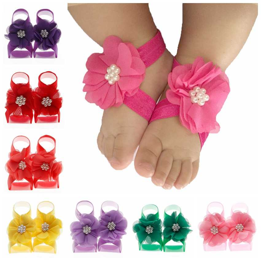 New Fashion Pearl Chiffon Flower Baby Barefoot Sandals first walkers Flower Foot Toddler flower Shoes Baby Shoes Accessories