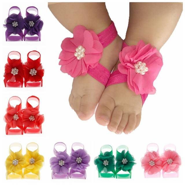 1d11fd81aa004 New Fashion Pearl Chiffon Flower Baby Barefoot Sandals first walkers Flower  Foot Toddler flower Shoes Baby Shoes Accessories