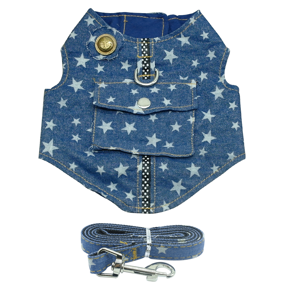 Dropshipping Denim Dog Harness and Leash Set For Small Puppy Dogs