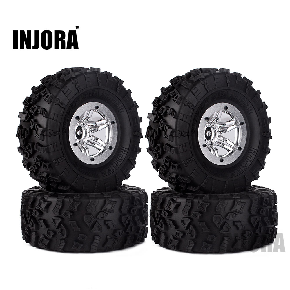 2.2 Plating Beadlock Wheel & Rim Rubber Tyres Wheel Tires for 1/10 RC Car Axial SCX10 Wraith 90056 90045 90031 90020 YETI 90025 2 2 plating beadlock wheel