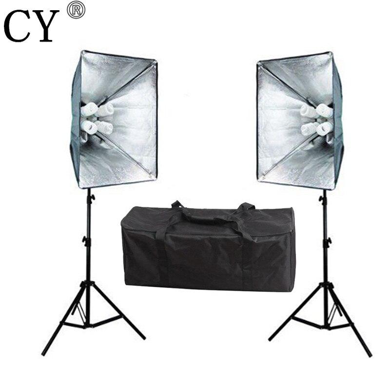 CY Photography Studio Soft Box Continuous Lighting Kits E27 4 Lamp Socket Head+Softbox*2+ Stand*2+Bulb x 8pcs Photo Studio Set