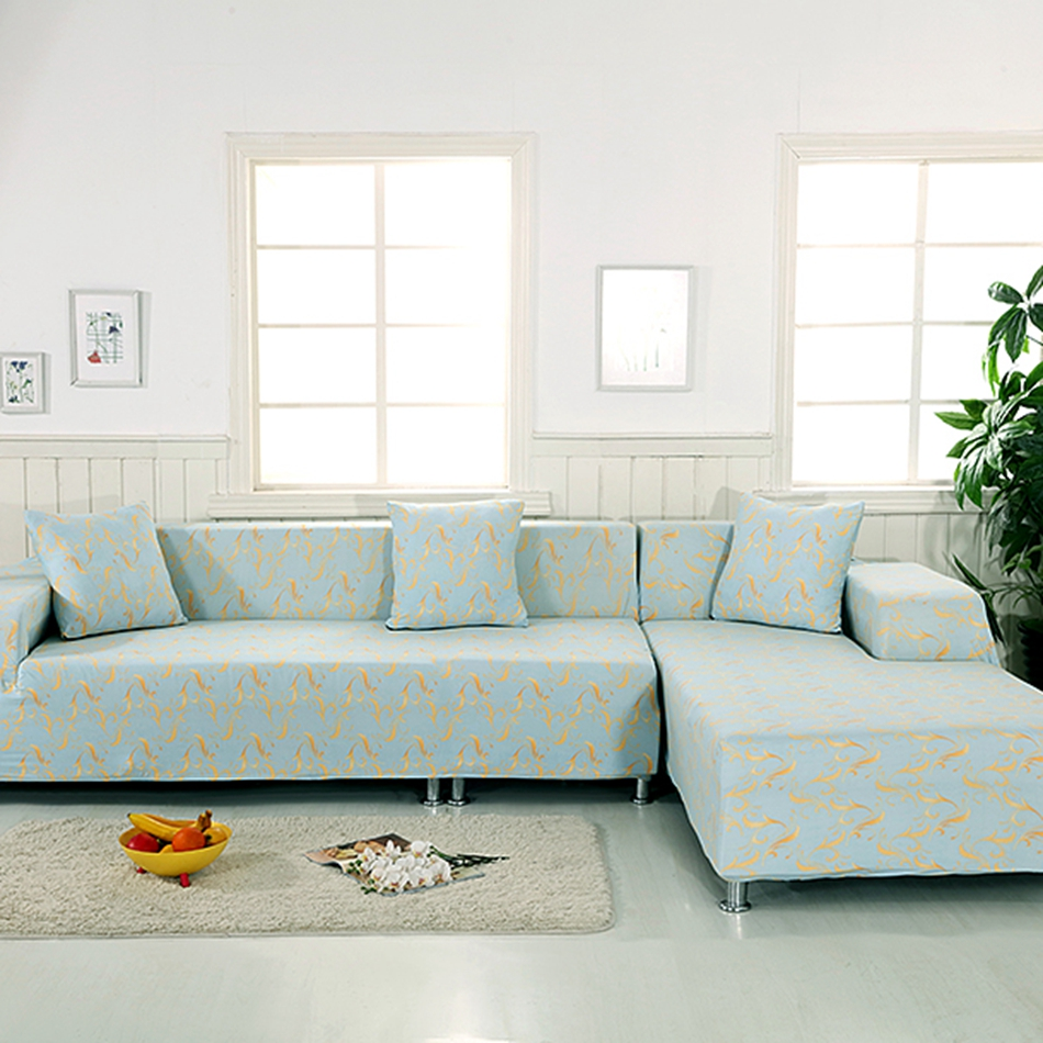 100% Polyester L Shape Sofa Covers For Living Room 2pcs Universal Stretch  Corner Sofa Covers