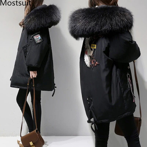 Image 1 - XL 4XL Black Thicken Wool Blends Coat Women Embroidery Jacket Cotton Long Hooded Neck Ladies Casual Coats Clothing Warm Winter