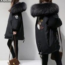 XL 4XL الأسود رشاقته الصوف Blends معطف المرأة التطريز سترة القطن طويل مقنع الرقبة السيدات معاطف عادية الملابس الدافئة الشتاء