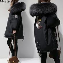XL 4XL שחור לעבות צמר תערובות מעיל נשים רקמת מעיל כותנה ארוך ברדס צוואר גבירותיי מקרית מעילי בגדי חורף חם