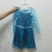 2017 Promotion High Quality Girls Princess Anna Elsa Dress Cosplay Costume Kid S Party Dress 3