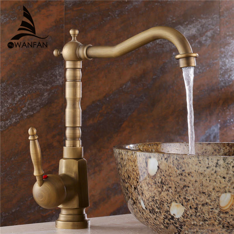 New European Retro Style Bathroom Basin Faucet Made of Brass Material with Hot and Cold Pipes Mixer Tap Free shipping ZLY-6718