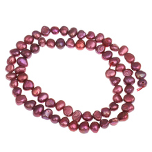 5-6mm Baroque Cultured Freshwater Pearl Beads, fuchsia, 5-6mm, Jewelry Making DIY Necklace and Bracelets15.5 Inch Strand