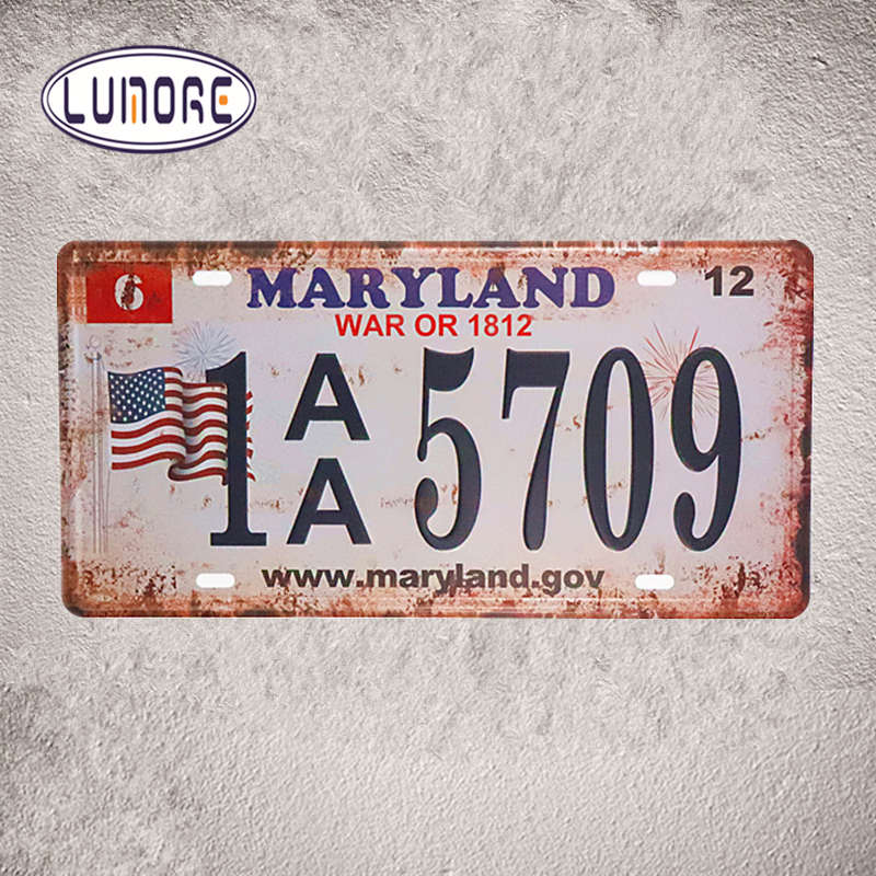 Car License Number  MARYLAND 1AA 5709  Vintage Metal Tin signs Man Cave Home Decor Craft Wall Plaques 15*30cm