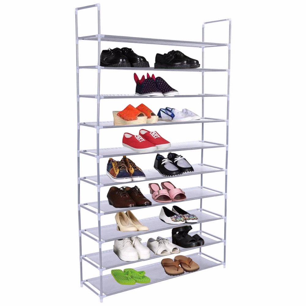 Goplus 50 Pair 10 Tires Shoe Rack Shelf Home Shoe Stool Storage Organizer Closet Cabinet Portable Wardrobe Rack HW52383 shoe rack nonwovens steel pipe 4 layers shoe cabinet easy assembled shelf storage organizer stand holder living room furniture