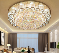 Luxury atmosphere led living room ceiling lamp European round rectangular bedroom gold crystal lamp led lighting fixture