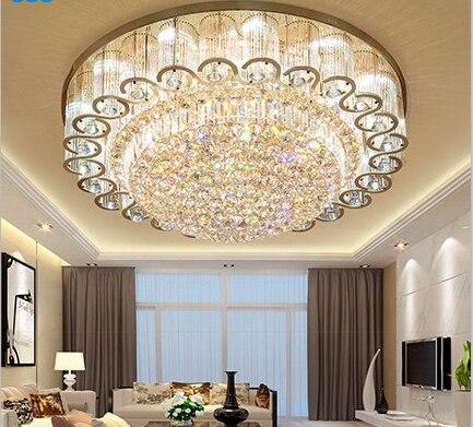 Luxury atmosphere led living room ceiling lamp European round rectangular bedroom gold crystal lamp led lighting fixture-in Ceiling Lights from Lights & Lighting    1