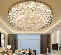 Luxury atmosphere led living room ceiling lamp European round rectangular bedroom gold crystal lamp led lighting fixture