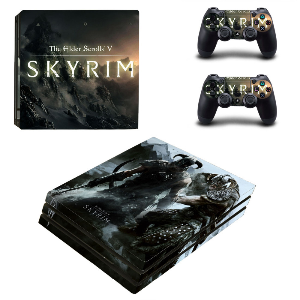 Elder Scrolls V:Skyrim PS4 Pro Skin Sticker Decal for PlayStation 4 Console and 2 Controller PS4 Pro Skin Sticker Vinyl