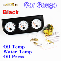 52mm Car Guage Oil Temperature Water Temp Oil Press Gauges 3 In 1 Kit Black Holder