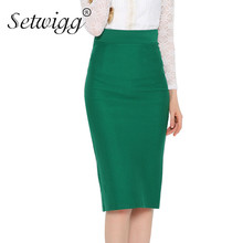 Sexy Fit Slim Midi Pencil Skirts Stretch Waist Back Split