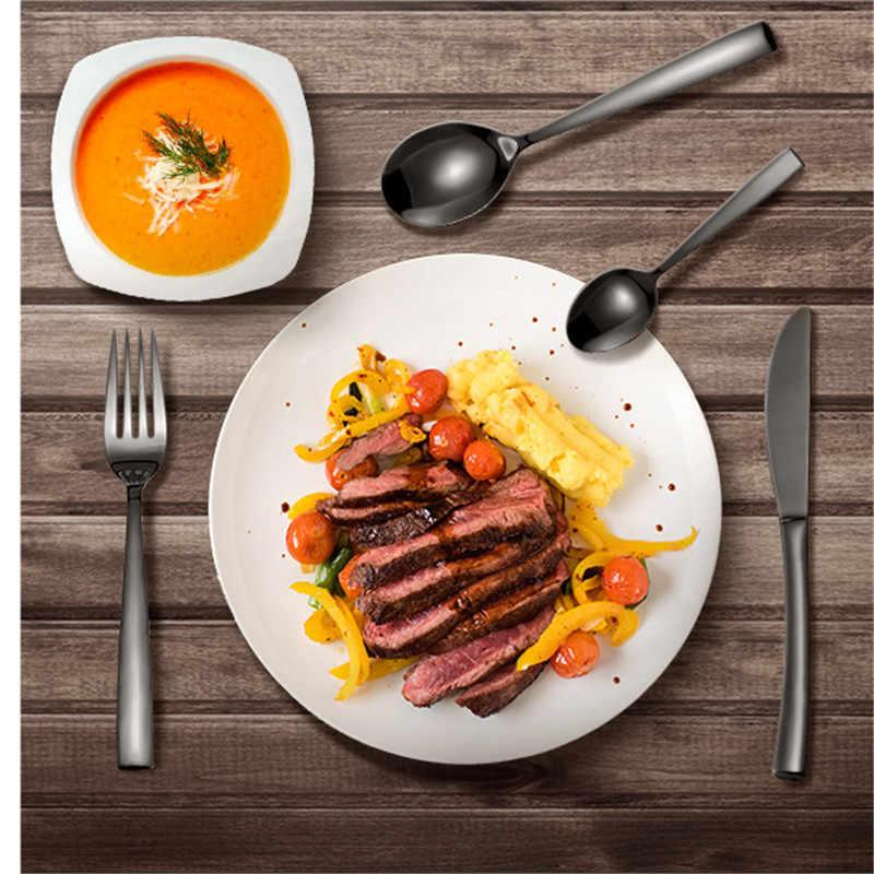 1 قطعة الفولاذ المقاوم للصدأ أواني الطعام والسكاكين شوكة سكين كوب مجموعات المائدة مجموعة هدية أسود جديد وصول