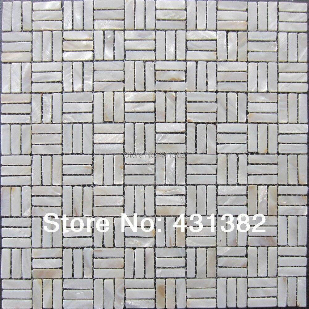 Cheap Subway Tile. Seamless Shell Mosaic With Base White Subway ...