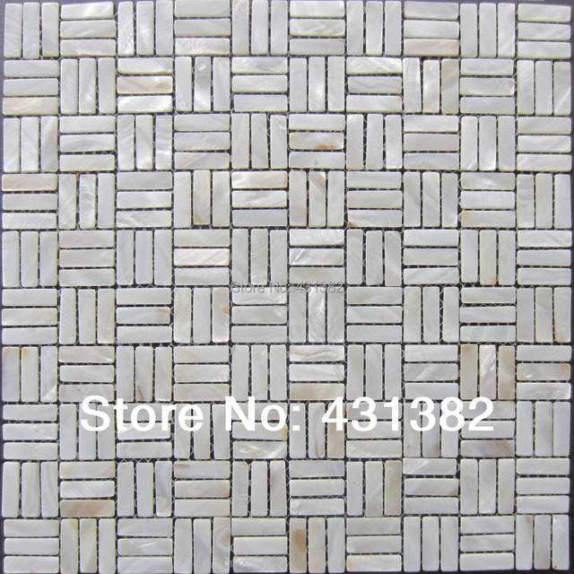 White Mother Pearl Subway Shell Mosaic Tiles Of