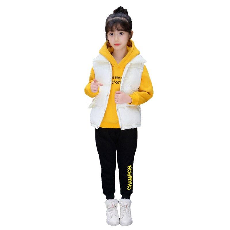 Vêtements pour enfants fille costume 2018 nouvelles filles hiver plus coton plus épais coton costume trois pièces veste costume