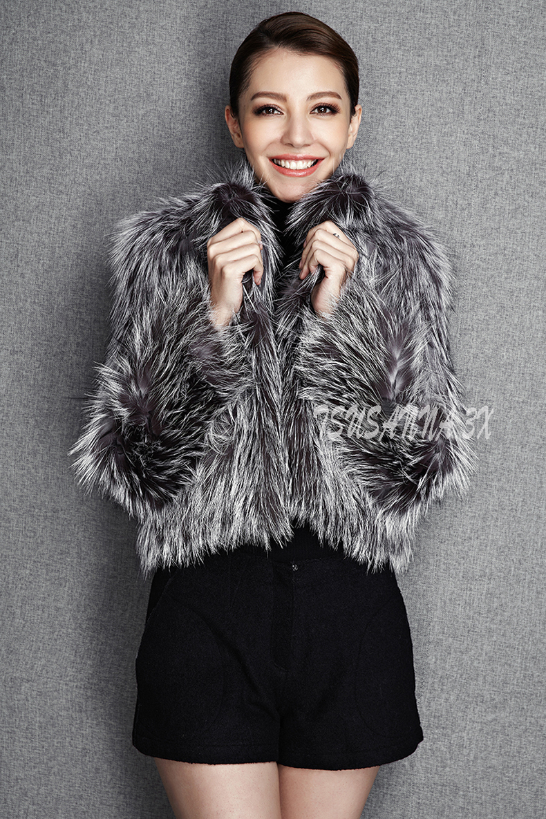 2015 New Arrival 100% Natural Silver Fox Fur Knitted Coat, Women's Real Fox Fur Outerwear SU-1521 EMS Free Shipping 5
