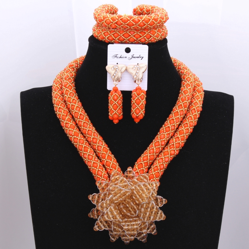 The Most Charming Girl Necklace Jewelry Sets Orange Necklace and the Golden Flower Party Bridal Jewelry Sets Free Shipping The Most Charming Girl Necklace Jewelry Sets Orange Necklace and the Golden Flower Party Bridal Jewelry Sets Free Shipping